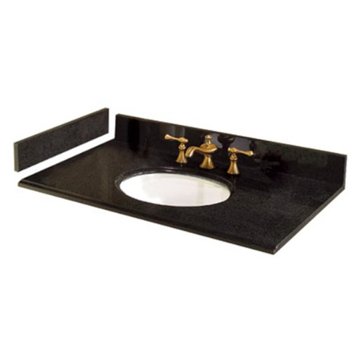 Pegasus PE37684 37-Inch Granite Vanity Top with White Bowl and 8-Inch Spread, Black