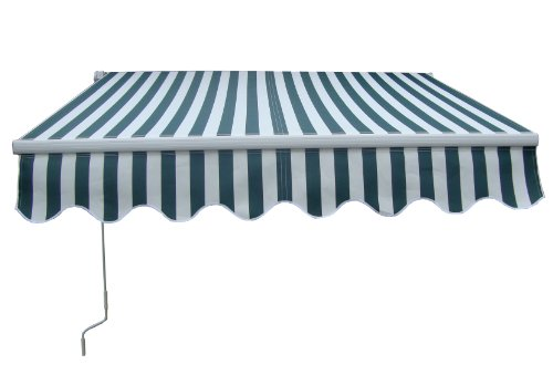 Garden Patio Manual Aluminium Retractable Awning Canopy Sun Shade Shelter 4M x 3M Green White
