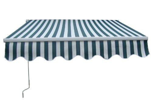 Garden Patio Manual Aluminium Retractable Awning Canopy Sun Shade Shelter 2M x 1.5M Green White