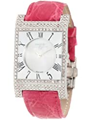 Swisstek SK57740L Limited Edition Swiss Pink Diamond Watch With Mother-Of-Pearl Dial, Genuine Crocodile Strap And Sapphire Crystal