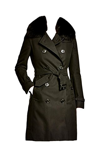 BURBERRY London Kensington Genuine Fox Fur Collar Trench Coat Size 6