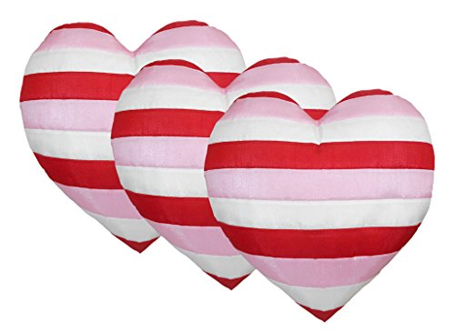Zikrak Exim Straight Stipe Heart Shape Cushion Cover with Filler(Pack of 3)