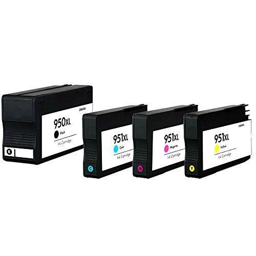 (4er Set, HP 950XL / 951XL (BK+C+M+Y)) • 4x Kompatibel Druckerpatrone für HP Officejet Pro 950BK 951C 951C 951Y • HP Officejet PRO 8100 8600 Eprinter E All in One Plus Premium Aio • Ersetzt Original HP CN045AE CN046AE CN047AE CN048AE • 2300 1500 Seiten Black Cyan Magenta Yellow • Multipack • Schwarz Rot Blau Gelb
