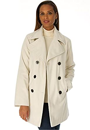 Jessica London Women's Plus Size Wool-Blend Pea Coat Ivory,12
