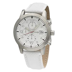 GUESS Men's W11163G3 Round Case White Dial White Leather Strap Watch