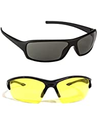 New Stylish UV Protected Combo Pack Of Sunglasses For Women / Girl ( BlackWrap-YellowNightVision ) ( CM-SUN-032 )