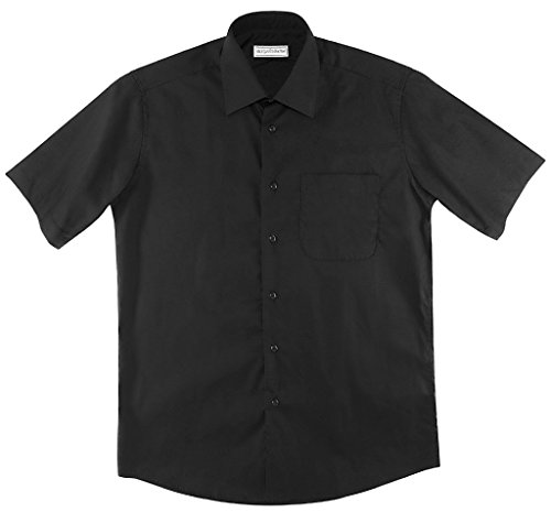 Biagio 100% Cotton Men's Short Sleeve Solid BLACK Color Dress Shirt size X-Large