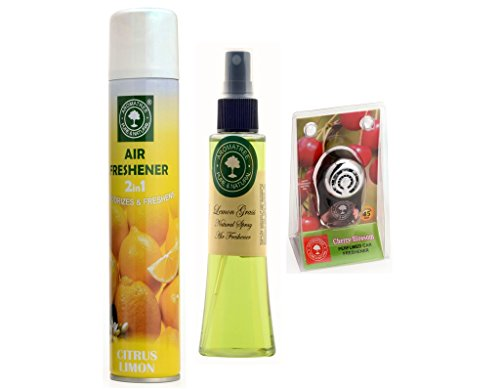 2in1 Citrus limon Air Freshener 300 ml And Lemon Grass Natural Spray 75 ml With Cherry Blossom Pure Car Perfume 10 ml