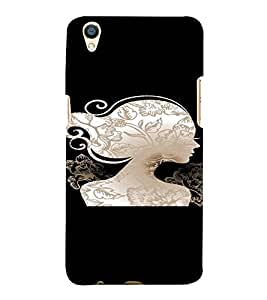 PrintVisa Beautiful Woman Silhouette 3D Hard Polycarbonate Designer Back Case Cover for Oppo F1 Plus
