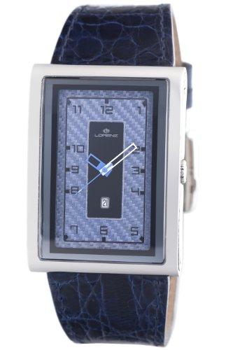Lorenz Men's 025922CC TB7 Big Rectangular Blue Leather Band Watch