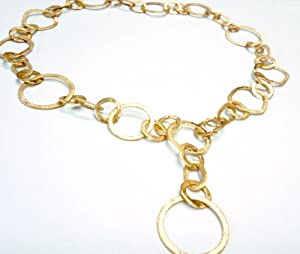 14K Yellow Gold Matte-Finish Hand-Crafted Round-Shaped Open Link Y-Shaped Necklace, Enhanced with Burnish Set Diamonds.
