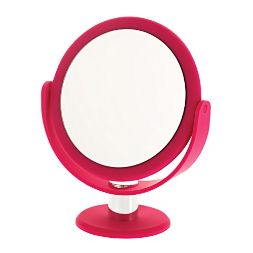 Danielle Enterprises Soft Touch 10X Magnification Round Vanity Mirror, Pink