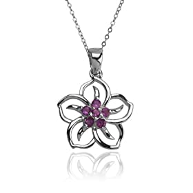 Sterling Silver Amethyst Flower Pendant from amazon.com