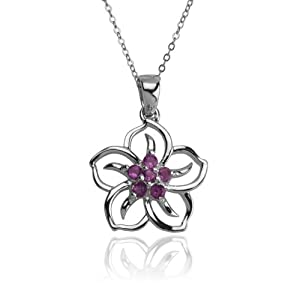 sterling silver amethyst flower pendant