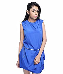 Tryfa Women's Dress (TFDRSR000066-M-L_Blue_Large)
