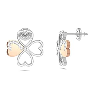 MEZZOTEK Women's 18K Stud Earrings (0.06 Carat, G-H Color, SI Clarity) (rose-and-white-gold)