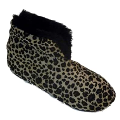 Dearfoams Brown Leopard Velour Boot Slippers Booties House Shoes Black Fur Trim