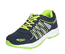 Trywell Navy and Green Sports Shoes
