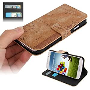 Map Pattern Horizontal Flip Button Leather Case with Credit Card Slots & Holder for Samsung Galaxy S4 / i9500 (Random Delivery), Coffee