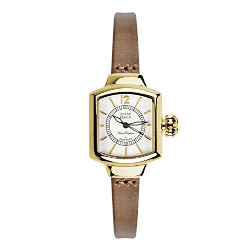 Glam Rock MBD27232 - Reloj para mujeres, correa de cuero color marrón