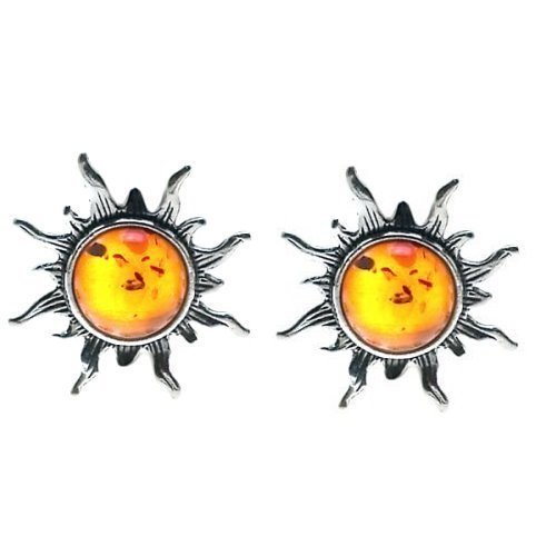 Certified Genuine Baltic Honey Amber and Sterling Silver Flaming Sun Stud Earrings