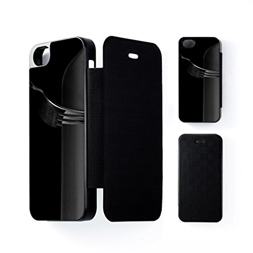 Knife And Fork Black Flip Case Snap-On Protective Hard Cover For Apple® Iphone 5 / 5S By Mick Agterberg + Free Crystal Clear Screen Protector