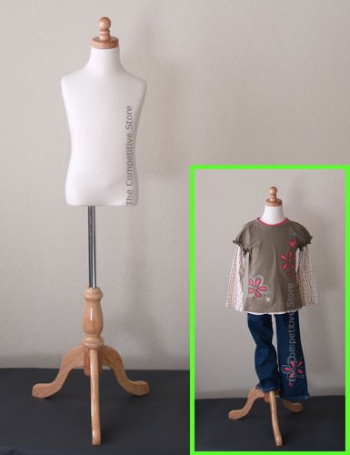 Kids 5-6 Years Child Jersey Mannequin Dress Form - Boy or Girl - White with Natural Tripod Base