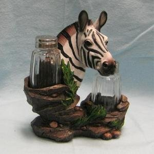 Zebra Salt and Pepper Shaker Holder Figurine