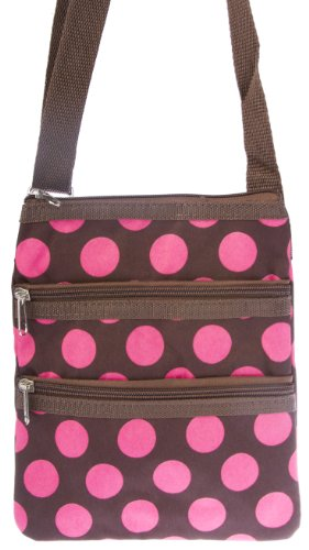 World Traveler Brown Pink Polka Dot Small Hipster Cross-Body Bag front-1019531