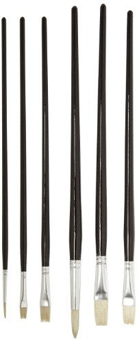 Sax True Flow Emperor Choice Pure White Bristle Brushes - Assorted Sizes - Set of 6 - Black