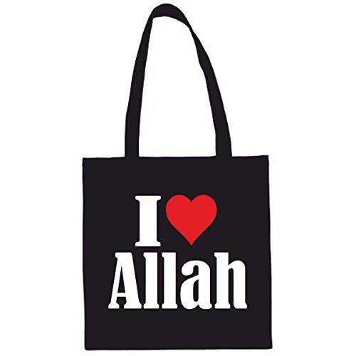 Sac à Bandoulière I Love Allah Shopping Bag Sac d'école Sac de Sport 38x 42cm en Noir ou Blanc.. Le cadeau parfait pour votre amoureux