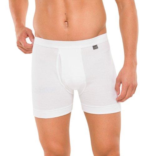 SCHIESSER Herren Shorts, lange Unterhose, Pant mit Eingriff, Feinripp, Cotton Essentials, weiss, 205160, Größe:8 (XXL)
