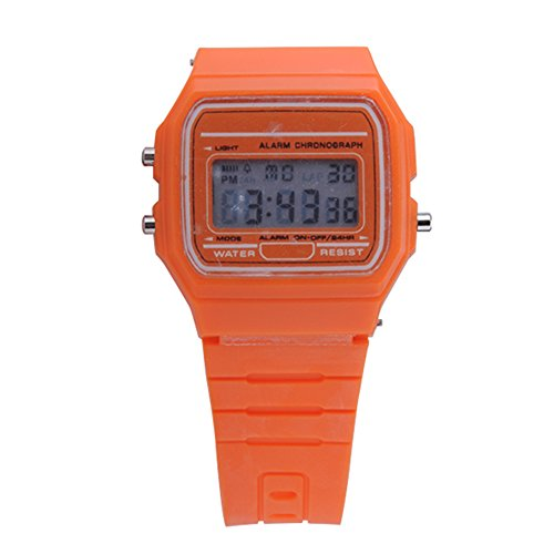 ATOZ Damen Mädchen Mode Gummi Silikon Band Digital Uhren Stoppuhr Armbanduhr (Orange)