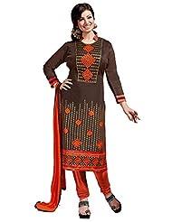 Aarti Lifestyle Women's Chanderi Silk Embroidered Brown Unstitched Salwar Suit