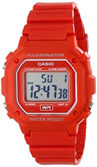 Casio F108WH Water Resistant Digital Red Resin Strap Watch