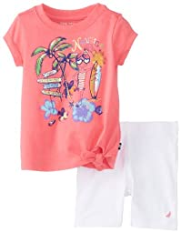 Nautica Baby Girls\' Short Sleeve Knotted Graphic Tee and Bike Short Set, Rose, 18 Months