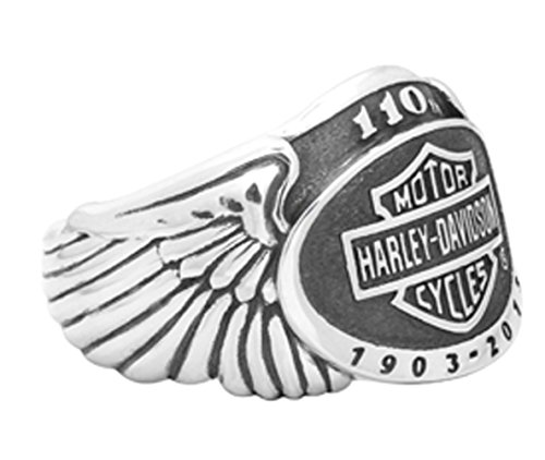 Harley-Davidson Mens .925 Silver 110th Anniversary Wing Ring (12)