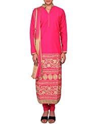 Kalki Fashion Pink Color Threadwork Silk Salwar Kameez With Embroidered Collar Only On Kalki