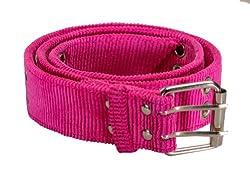 Womens Chic Corduroy Style Double Grommet Fashion Belt Fuchsia Large