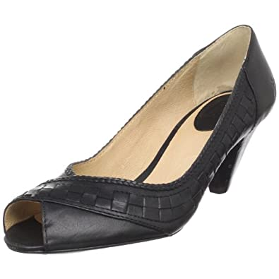 FRYE Women's Maya Woven Peep Pump,Black,6 M US