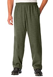 Kingsize Men\'s Big & Tall Fleece Open-Bottom Pants, Olive Big-5Xl