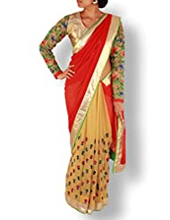 Brown/Red Half And Half Embroidery Georgette Saree With Designer Blouse