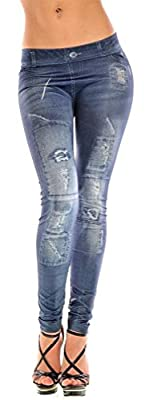 Amour- Sexy Denim Look Faux Jean Blue Stretchy Leggings Tights Pants Jegging