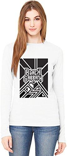 Black Sabbath Line Art T-Shirt da Donna a Maniche Lunghe Long-Sleeve T-shirt For Women| 100% Premium Cotton Ultimate Comfort Small