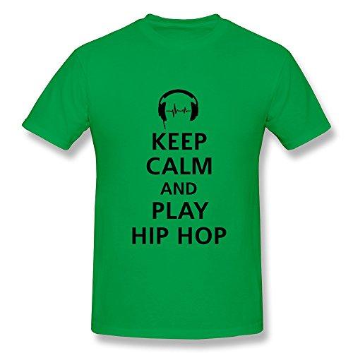 Goldfish Men'S Love Pre-Cotton Keep Calm Play Hip Hop T-Shirt Forestgreen Us Size M