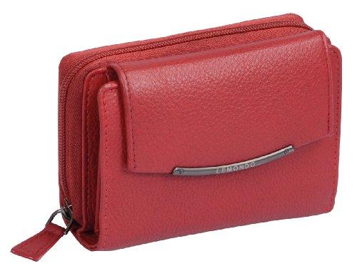 Porte-monnaie pour femme LEMONDO, cuir véritable, rouge 13x10cm