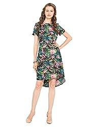 Floral Printed Polyester Skater Dress Large