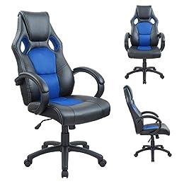 Duhome 0406 Fauteuil de bureau ergonomique en cuir synthétique et maille avec repose-tete et fonction bascule Bleu
