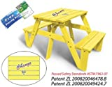 Lohasrus Kids Picnic Table 20322 - Passed Safety Standards ASTM F963-07, Dual Non-toxic Painted Fir, for ages 2 to 6, 1 seated each side, Free Drawing Book