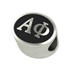 Alpha Phi Black Antique Oval Sorority Bead Charm Fits Most Pandora Style Bracelets. High Quality Bead in Stock for Fast Shipping